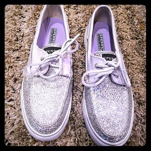Silver Glitter Sperry Top Sider Boat Shoes